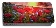 Poppy Fields At Dawn Portable Battery Charger