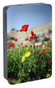 Red Poppy Flower On The Meadow Portable Battery Charger
