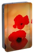 Poppy Triptych Portable Battery Charger by Valerie Anne Kelly