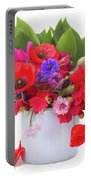 Poppy With Sweet Pea And Corn Flowers On White Portable Battery Charger