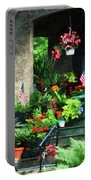 Porch With Geraniums And American Flags Portable Battery Charger