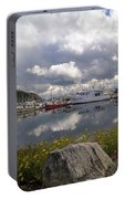 Port Of Anacortes Marina On A Cloudy Day Portable Battery Charger