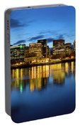 Portland City Skyline Blue Hour Panorama Portable Battery Charger