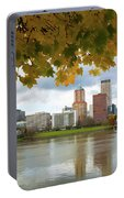 Portland City Skyline Under Fall Foliage Portable Battery Charger