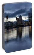 Portland City Skyline With Hawthorne Bridge At Dusk Portable Battery Charger