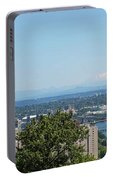 Portland Cityscape And Bridges On A Clear Blue Day Portable Battery Charger