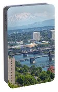Portland Cityscape With Mount Saint Helens View Portable Battery Charger