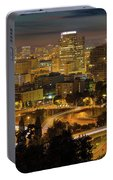 Portland Downtown Cityscape And Freeway At Night Portable Battery Charger