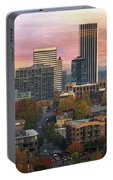 Portland Downtown Cityscape During Sunrise In Fall Portable Battery Charger
