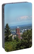 Portland Downtown Cityscape With Mount Saint Helens View Portable Battery Charger