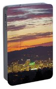 Portland Oregon City Skyline Sunset Panorama Portable Battery Charger