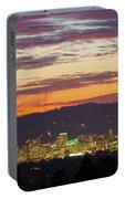 Portland Oregon City Skyline Sunset Panorama Portable Battery Charger