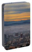 Portland Oregon Cityscape And Mount Hood At Sunrise Portable Battery Charger
