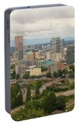 Portland Oregon Downtown Cityscape By Freeway Portable Battery Charger