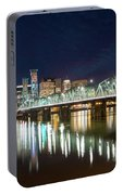 Portland Skyline By Hawthorne Bridge At Night Portable Battery Charger