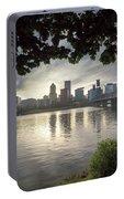 Portland Skyline Under The Trees At Sunset Portable Battery Charger
