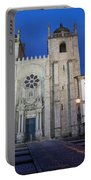 Porto Cathedral By Night In Portugal Portable Battery Charger