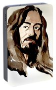 Watercolor Portrait Of A Man With Long Hair Portable Battery Charger