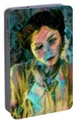 Portrait Colorful Female Wistfully Thoughtful Pastel Portable Battery Charger