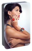 Portrait Of A Beautiful Woman Wearing Jewellery Portable Battery Charger