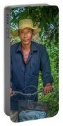 Portrait Of A Khmer Rice Farmer - Cambodia Portable Battery Charger