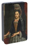 Portrait Of A Lady Half Length In A Mantua Gown And Lace Frelange Headdress Portable Battery Charger