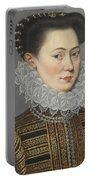 Portrait Of A Lady Head And Shoulders In A Lace Ruff Portable Battery Charger