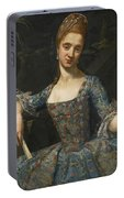 Portrait Of A Lady In An Elaborately Embroidered Blue Dress Portable Battery Charger