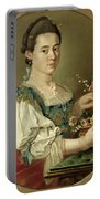 Portrait Of A Lady With A Flower Basket Portable Battery Charger