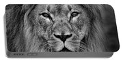 Portrait Of A Male Lion Black And White Version Portable Battery Charger