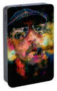 Portrait Of A Man In Sunglass Smoking A Cigar In The Sunshine Wearing A Hat And Riding A Motorcycle In Pink Green Yellow Black Blue Oil Paint With Raking Light To Pick Up Paint Texture Portable Battery Charger
