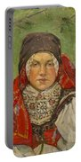 Portrait Of A Woman In A Red Scarf Portable Battery Charger