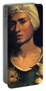 Portrait Of A Young Man With A Dog And A Cat Portable Battery Charger