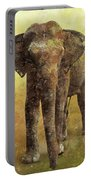 Portrait Of An Elephant Digital Painting With Detailed Texture Portable Battery Charger