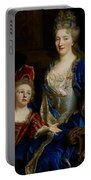 Portrait Of Catherine Coustard Portable Battery Charger by Nicolas de Largilliere