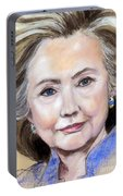 Pastel Portrait Of Hillary Clinton Portable Battery Charger