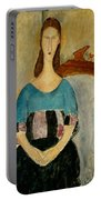 Portrait Of Jeanne Hebuterne Portable Battery Charger by Amedeo Modigliani