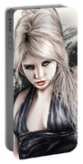 Portrait Of Miss Mosh Portable Battery Charger by Pete Tapang
