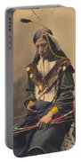 Portrait Of Oglala Sioux Council Chief Bone Necklace Portable Battery Charger
