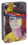 Portrait Of Woman With Vintage Hat Portable Battery Charger