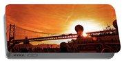 Sunset Under The 25 April Bridge Lisbon Portable Battery Charger