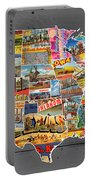 Postcards Of The United States Vintage Usa Map On Gray Wood Background Portable Battery Charger
