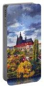 Prague Castle With The Vltava River Portable Battery Charger