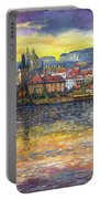 Prague Charles Bridge And Prague Castle With The Vltava River 1 Portable Battery Charger