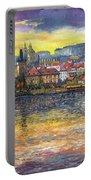 Prague Charles Bridge And Prague Castle With The Vltava River 1 Portable Battery Charger