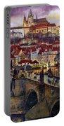 Prague Charles Bridge With The Prague Castle Portable Battery Charger