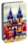 Prague Church Of Our Lady Before Tyn Watercolor Portable Battery Charger