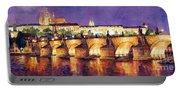 Prague Night Panorama Charles Bridge  Portable Battery Charger