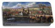 Prague Panorama Charles Bridge Prague Castle Portable Battery Charger