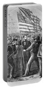 President Lincoln Holding The American Flag Portable Battery Charger